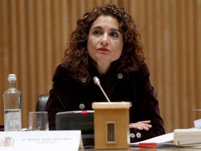 María Jesús Montero, ministra de Hacienda, durante la presentación de los Presupuestos Generales del Estado este lunes.