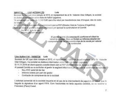 Documentos confidenciales de la Banca Privada d'Andorra (BPA) donde se menciona la relación entre el subsecretario general de Presidencia de Argentina, Valentín Díaz Gilligan, con la sociedad Line Action Ltd, que figura como titular de una cuenta en el banco andorrano.