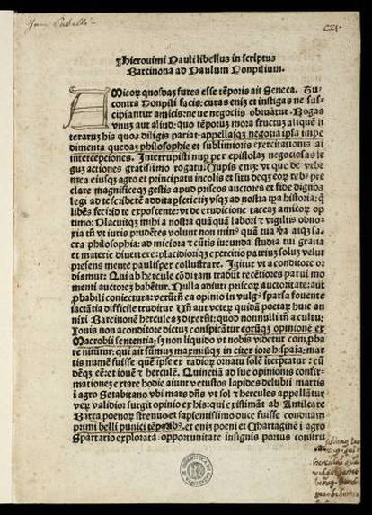 Primera página del incunable de Jeroni Pau que ha incorporado la Biblioteca Nacional de Catalunya.