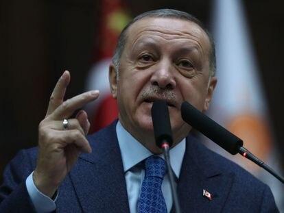 El presidente de Turquía, Recep Tayyip Erdogan, este miércoles en el parlamento turco.