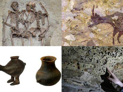 En la imagen: Los amantes de Módena, la obra figurativa más antigua, biberones del Neolítico y las piedras que unieron el cielo y la tierra.
