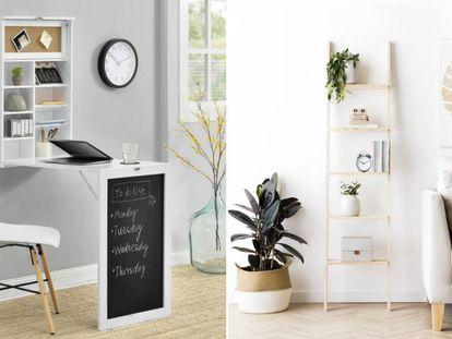 Mesas de oficina plegables, estanterías que ocupan poco espacio... hay diferentes soluciones que podemos aprovechar.