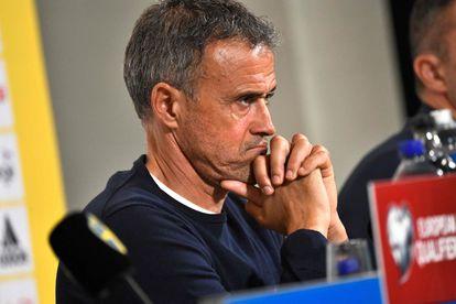 Luis Enrique, en la rueda de prensa posterior al partido contra Suecia.