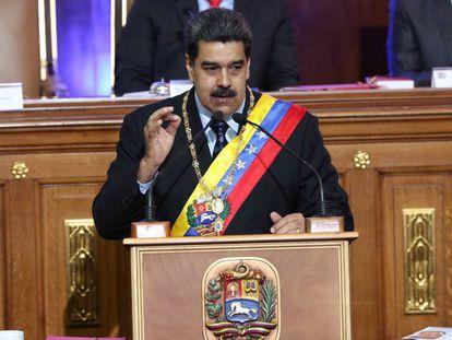Nicolás Maduro, este lunes durante su intervención ante la Asamblea Nacional Constituyente.