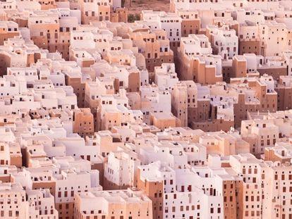 Vista aérea de la ciudad de Shibam, conocida como la Manhattan de Arabia.