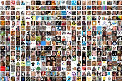 Un panel realizado con cientos de avatares de la red social Twitter.