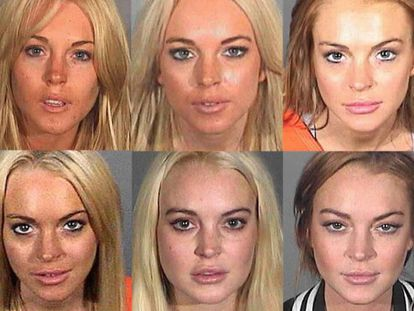 Montaje que muestra la evolución de las diversas fotos policiales de Lindsay Lohan, tomadas entre 2007 y 2013.