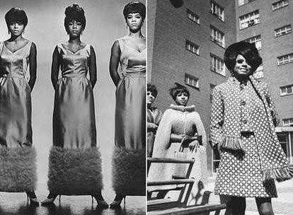 Las Supremes, vestidas para una actuación, y a la derecha, con ropa de calle.