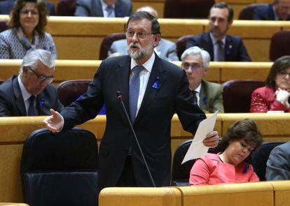 El presidente del Gobierno, Mariano Rajoy, en la sesión de control en el Senado.