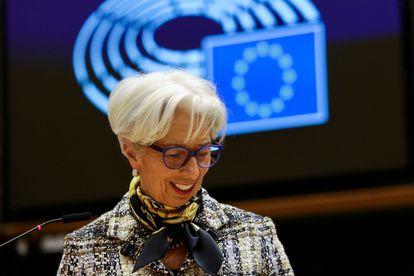 Christine Lagarde, presidenta del BCE, el 8 de febrero en el Parlamento Europeo, en Bruselas.