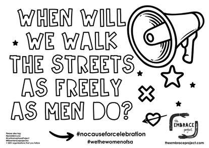 Cartel de denuncia de violencia machista de la campaña sudafricana 'No cause for celebration' (nada que celebrar).