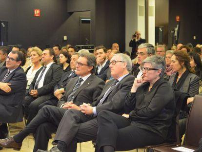 Artur Mas, Josep Poblet y Ester Ventura el 5 de marzo en Vila-seca.