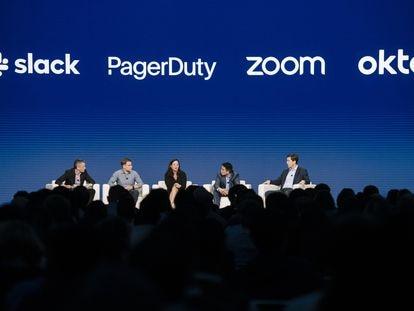 Directivos de varias compañías tecnológicas, en una conferencia en San Francisco en 2019.