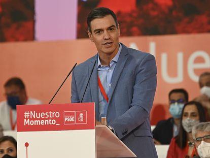 El presidente del Gobierno, Pedro Sánchez, el domingo en Mérida.