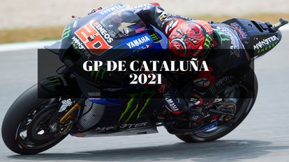 El piloto francés Fabio Quartararo del equipo Monster Energy Yamaha, durante la cuarta sesión de entrenamientos libres del Gran Premio de Cataluña 2021, que se disputa en el circuito de Montmeló.