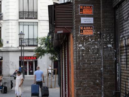 Carteles de alquiler en un edificio del centro de Madrid, el pasado agosto.