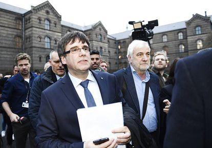 Carles Puigdemont, a su llegada a la Universidad de Copenhague.