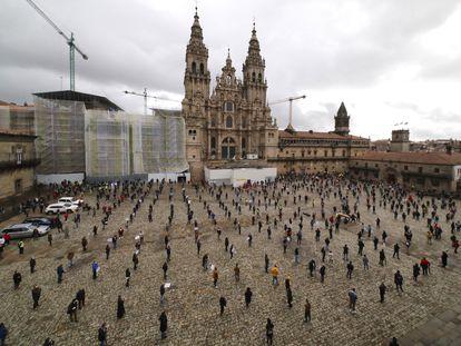 Protesta de los hosteleros de Santiago de Compostela por las restricciones impuestas por la Xunta.