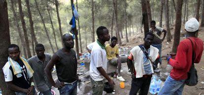 Inmigrantes subsaharianos en el monte Gurugú (Marruecos), el pasado agosto.