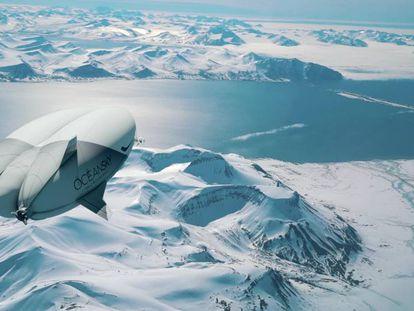 Una recreación por ordenador del Airlander 10 sobrevolando el Polo Norte.