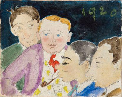 Una caricatura de los cuatro amigos Enric Christiofol Ricard, Joan Miró, Maria Espinal y Luis Mercade en un dibujo atribuido a Marian Espinal, que habla de la relación entre ellos y el escritor en 1920.