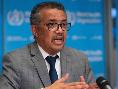 El director general de la Organización Mundial de la Salud (OMS), Tedros Adhanom Ghebreyesus, durante la rueda sobre la Covid-19.