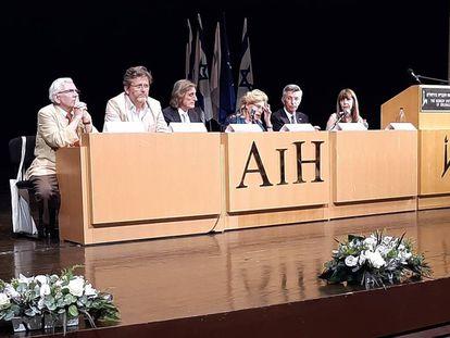 Mesa inaugural del congreso de la Asociación Internacional de Hispanistas, en Jerusalén.