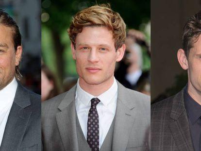 De izquierda a derecha: los actores Charlie Hunnam, James Norton y Jamie Bell.