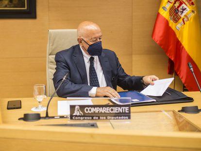 El exjefe de Asuntos Internos de la Policía Nacional, el comisario Marcelino Martín-Blas, durante su comparecencia en el Congreso, este miércoles.
