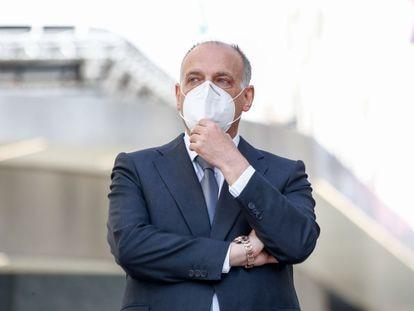 Javier Tebas, en un acto de apoyo a la Liga Santander, el 10 de julio de 2020.