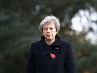 La primera ministra británica, Theresa May, durante el centenario del fin de la Primera Guerra Mundial en el norte de Francia el 9 de noviembre de 2018.