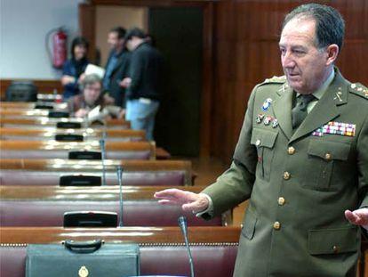 Félix Sanz Roldán, en la comisión de Defensa del Senado mientras era el jefe del Estado Mayor de la Defensa, en 2019.