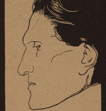 Retrato de Stefan George realizado por Reinhold Lepsius.