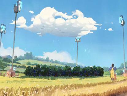 Un fotograma del anuncio tecno optimista de la empresa Chobani