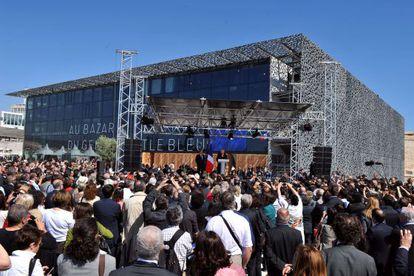 La inauguración del museo, ayer, a cargo del presidente francés, François Hollande.