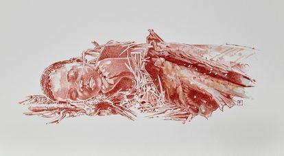 Recreación artística de la tumba del niño Mtoto.