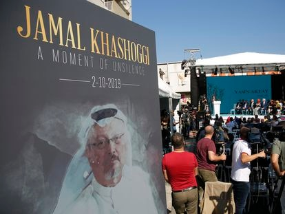 Imagen de Khashoggi en un acto celebrado en el primer aniversario de su muerte, el 2 de octubre de 2019.