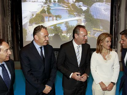 El President de la Generalitat Alberto Fabra en la presentación del proyecto en el Hotel Westin en Valencia.