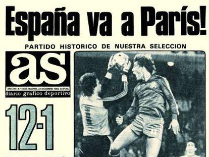 Portada de 'As' del 12-1 a Malta, de 1983.
