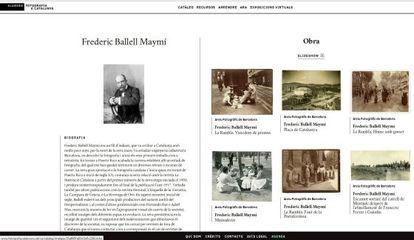 Captura de la nueva página web sobre fotografía catalana, en concreto de la entrada de Frederic Ballell.