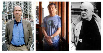 De izquierda a derecha, Philip Roth, Haruki Murakami y Milan Kundera