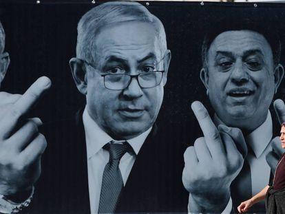 El primer ministro israelí, Benjamín Netanyahu, en un cartel electoral opositor.