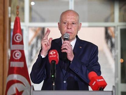 El presidente Said, en una comparecencia durante su visita a Sidi Bouzid, el pasado 20 de septiembre.