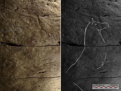 Grabados encontrados en una cueva del cerro Aitzbitarte, cerca de San Sebastián, en el País Vasco / O. Rivero y D. Garate