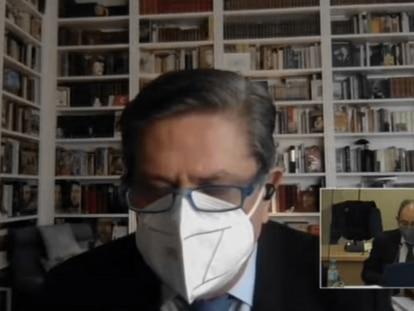 Federico Trillo, durante su declaración por videoconferencia en el caso de la caja b del PP, este jueves.