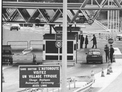 Puesto fronterizo de La Jonquera en 1990.