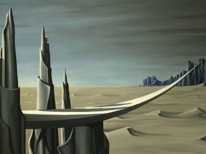 Peligro, zona en construcción, de Kay Sage, obras de la muestra del Museo Picasso de Málaga.
