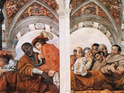 Fresco en el Palacio del Quirinal (Roma) representando las embajadas congoleña y japonesa, 1616-1617.