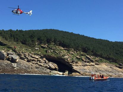 Final del rescate del segundo cuerpo en Hondarribia (Gipuzkoa).
