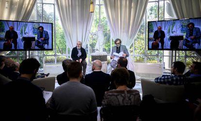 Jaume Roures y Tatxo Benet, durante la presentación de The Mediapro Studio.